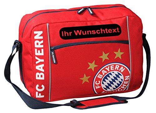 FC Bayern Schultertasche mit Ihrem Wunschtext (Plakette) Schwarz