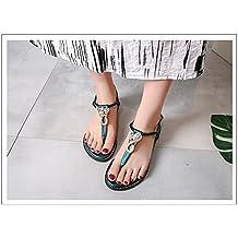 MeiMei Sommer Beach Resort mit Einem Base Schelle Fuß Sandalen Weibliche Koreanische Version der Studentenwohnung mit Geschlitzten Krawatte Schuhe Sandalen dfwPD2