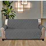 AMEHA Waterproof Sofa Protector Grey-Quilted Throw Furniture Protector Cover (3 Seater, Dark Grey)