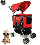 Haustierbuggy / Hundebuggy, All-in-One (Hundeautositz / Buggy / Haustiertransporttasche), Rot
