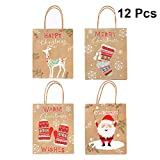 YEAHIBABY Sac Cadeau, Sacs en Papier Kraft avec poignées pour Sacs de Bonbons en Papier de Noël, 23 x 18 x 10 cm, 12 PCS (Motifs aléatoires)