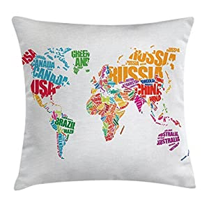 Ambesonne – Funda de cojín para viaje, diseño de mapa del mundo con nombres de los países de Europa, América, África, Asia, estilo gráfico, funda de almohada decorativa, cuadrada, 45,7 x 45,7 cm, multicolor