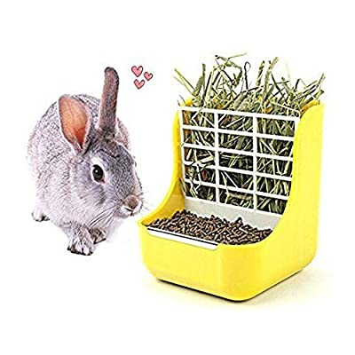 TeaQ 2 in 1 Pet Feeder and Grass Frame for Rabbits Chinchillas Big Guinea Pigs Small Animals Anti-bite with Fixed Set by TeaQ
