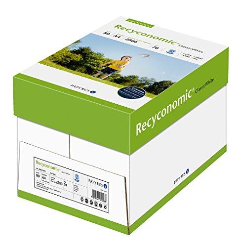 Papyrus 88031811 Recycling-Druckerpapier, Recyconomic ClassicWhite, 80g DIN-A4, 5x500 Blatt, ungestrichen, matt, weiß / CIE-Weiße: 55
