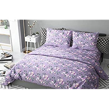 haus & kinder Chic Floral Art 100% Cotton Double Bedsheet with 2 Pillow Covers 186 TC (Violet)
