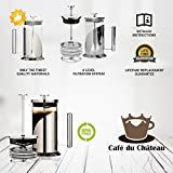 from Cafe Du Chateau Cafe Du Chateau French Press, 8 Cup, 4 Level Filtration System, 304 Grade Stainless Steel, Heat Resistant Borosilicate Glass (1000ml) Model SYNCHKG112393