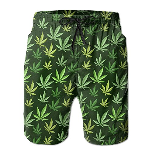 fengxutongxue Men's Marijuana Cannabis Weeds Beach Shorts Quick-Dry Swim Trunks Medium