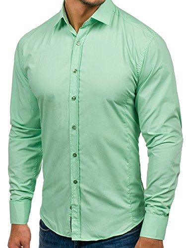 BOLF Camicia – Manica lunga – Con bottoni – Colletto francese – Elegante – Da uomo – 2B2 Menta
