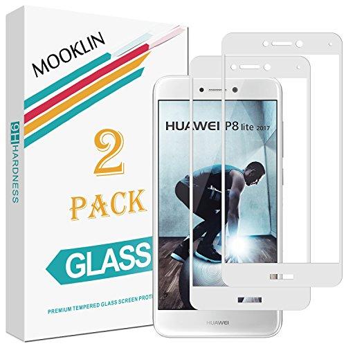 MOOKLIN Huawei P8 Lite 2017 Pellicola Protettiva,[2 Pezzi] [Copertura Completa] [AntiGraffio] Pellicole Protettive in Vetro Temperato per Huawei P8 Lite 2017 - Bianco
