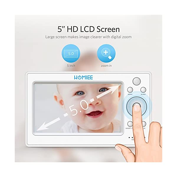 """HOMIEE 720P Wireless Video Baby Monitor with 5"""" HD LCD Digital Screen & Robot Appearance Camera, Two Way Audio, Sound & Temperature Alert, Low Battery Alarm, Night Vision with 1000ft Range (Pink) HOMIEE 【5"""" Large Rechargeable Color LCD Monitor】Equipped with super large 5 inch full color HD LCD screen with 1280 x 720 resolution, HOMIEE baby monitor offers the most vivid visual experience 【Upgraded Unique Robot Appearance Camera】Up to 4 cameras can be hooked up to the monitor for more babies. The robot can be wireless controlled to rotate about 360 degree horizontally, to bow and lie down between 105 degree at most 【2.4GHz Wireless Connection Technology】No need to connect WIFI, needless of 3G/4G mobile data traffic, the 2.4GHz wireless technology provides 100% digital privacy and security, with range up to 1000ft in open space. Night vision is also supported 2"""