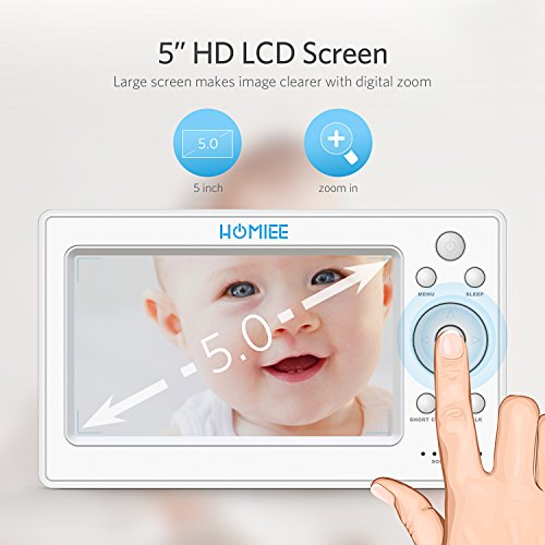 Video Babyphone,HOMIEE Babyphone 360 °Baby Kamera, 5 Zoll LCD Monitor und 300m 2,4G Wireless Verbindung, Wiederaufladbarer Monitor,Ton und Temperaturalarm, Nachtsicht, Wiegenlied und Zweiwege Audio - 2