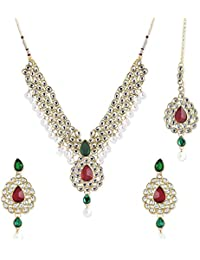 Aradhya Gold Plated Traditional Kundan Necklace For Women And Girls