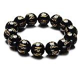 fengshuiyan 10mm Herren Frauen Schwarz Gem Stone Tibetische Perlen Armband, Mantra Om Mani Padme Hum Buddhistische Gebetskette Mala