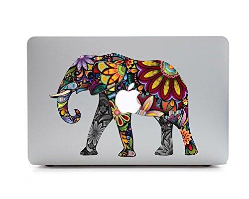 Sticker Adhesivos para Macbook, Desprendibles Creativo Color Flores Dibujos Animados Art Calcomanía Pegatina para MacBook Pro/Air 13 Pulgadas Portátil CT-85 (Elefante Bohemio)