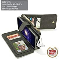 artPhone Leather look (Pu Leather) Wallet case for Samsung Galaxy S8/S8 Plus/Note 8 Plus Multifunctional 3 in 1 -Wallet -Card holder -Mobile case (S8, Black)