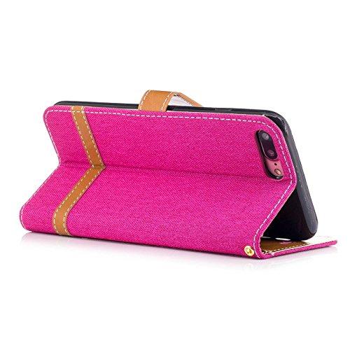 iPhone 7 Plus 5,5Zoll Schutzhülle,iPhone 7 Plus Leder Hülle,TOYYM Ultra Dünn Full Body Protection Flip Leder Wallet Brieftasche Case 3 in 1 Handytasche mit Stand Funktion Kartenfächer Magnetverschluss Rose Rot