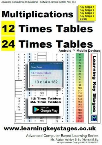 Multiplications 12 Times Tables and 24 Times Tables Android Mobile Devices: Advanced Computer based Learning Series Mobile Computer-serie