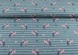 Excellenter Jersey Stoff mit Bambi und Herzen auf