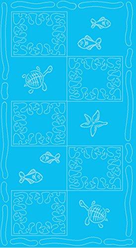 SERVIETTE DE PLAGE EN VELOURS - TAILLE XXL 100x200CM PUR COTON - MOTIFS POISSONS TORTUES (Turquoise)