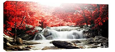 Large Red Forest Waterfall Landscape Box Canvas 113cm x 52cm ready to hang - cheap UK canvas store.