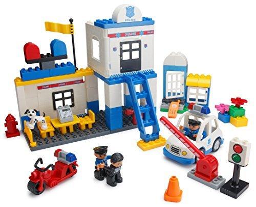Unbekannt Juego de construcciones Play Builds estación de policía con95Piezas, con Coche, Moto, calabozo, Minifiguras de policías Otto y Robber, Perro y Accesorios