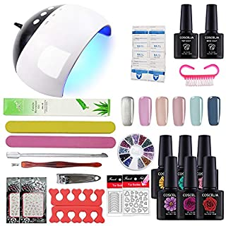 Coscelia Gel Nail Starter Kit Gel Nail Polish 6pcs Colour Gel 10ml, Top and Base Coat Set UV LED Nail Lamp Manicure Tools