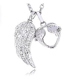 Morella Damen Engelsfeder Anhänger und Halskette Edelstahl 70 cm mit Schutzengel Anhänger für 16 mm Klangkugeln oder Edelsteinen