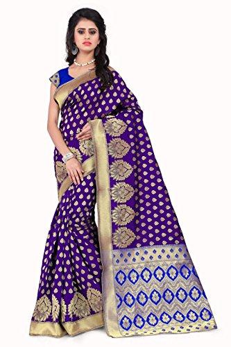 Sarees (Women's Purple & Blue Banarasi Silk Saree with Blouse Piece Banarasi...