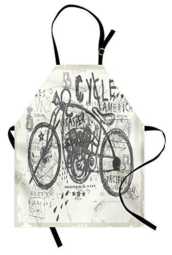 Lunarable Delantal vintage, diseño de bicicleta de carreras nostálgicas antiguas con espumas...