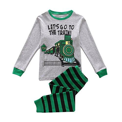 lafanzug, Kinder PJ-Sets, Jungen 100% Baumwolle langärmelige Nachtwäsche in Größen von 12-24 Monaten bis 7 Jahren (Zug, 5 Jahren/110cm Gross) (Jungen Kleinkind Schlafanzug)