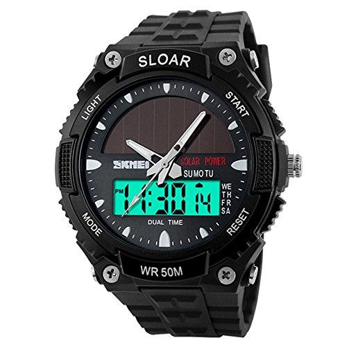 amstt Herren Solar Armbanduhr für Jungen Military Uhren 5ATM wasserdicht Analog Digital Outdoor Sport watchwatches Stoppuhr Schwarz
