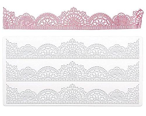 Bordüren-Matte Vintage - Zur Herstellung Von Tortenbordüren Ca 39,5 x 19,5 Cm Weiß