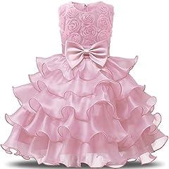 Idea Regalo - NNJXD Vestito da Ragazza Festa in Pizzo per Bambini Abiti da Sposa Taglia(90) 12-24 Mese Fiore Rosa