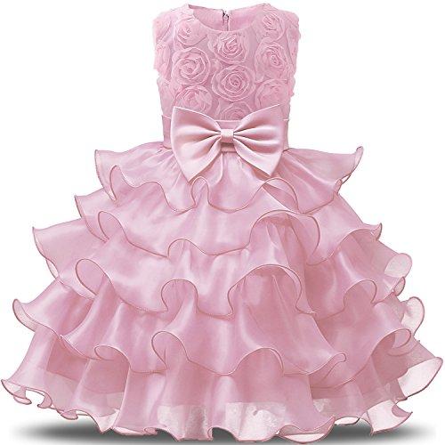 NNJXD Mädchen Kleid Kinder Rüschen Spitze Party Brautkleider Größe(130) 5-6 Jahre Blumen Rosa