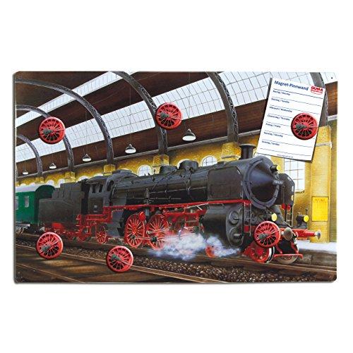 Magnettafel Dampf-Lok - 60x40 cm - Pinnwand mit Motiv Lokomotive Nostalgie (Magnetwand Blech)