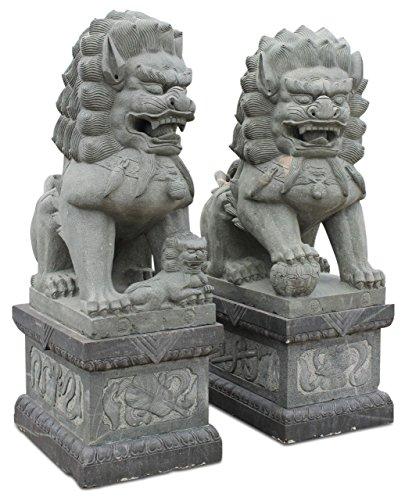 Asien Lifestyle 225 cm große Tempellöwen Granit Stein Wächterlöwen Tempelhunde
