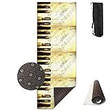 Bag shrot Yoga Mat Non Slip Piano Art 24 X 71 Inches Premium Fitness Exercise Pilates Carrying Strap