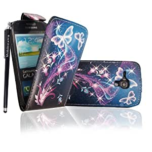 For Samsung Galaxy S3 III Mini i8190 Ultra Butterfly Style 7 Printed Pouch PU Leather Magnetic Flip Case Cover + Stylus + Guard