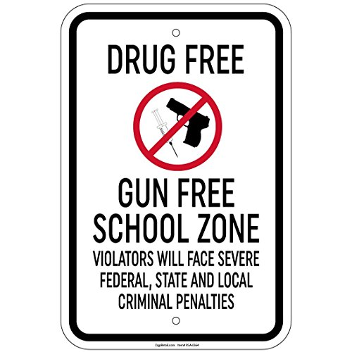 impreqaa Drug Free pistola libera scuola zona Face 30,5x 40,6cm alluminio Sign