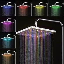 """Bonade - 30 x 30 cm 12"""" LED Alcachofa fija para ducha 7 colores ( cambian de forma gradual ), Cabeza de ducha Cuadrada, color cromo"""