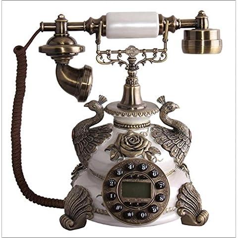 25 * 25 * 29 cm creative resina teléfonos antiguos de blanco perla, ornamentos decorativos de hogar fijo de ID de llamadas de teléfono retro