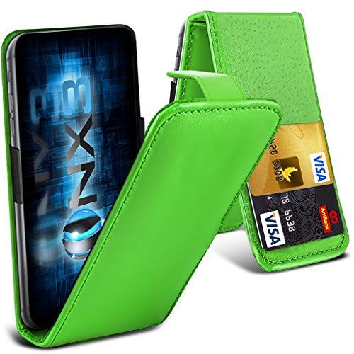 ONX3® (Green) HTC Desire 700 Fall Universal-Luxuxart Folding PU-Leder Federklemmhalter Top-Schlag- Fall mit 2-Karten-Slot, nach oben und unten Kamera - Desire Handy-fall, Htc 700