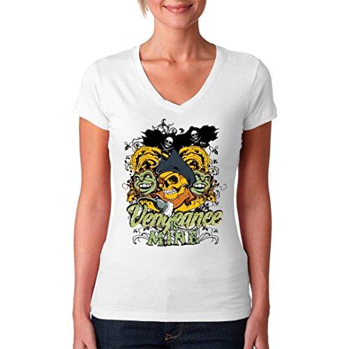 Gothic Fantasy Girlie V-Neck Shirt - Vengeance Is Mine by Im-Shirt Weiß