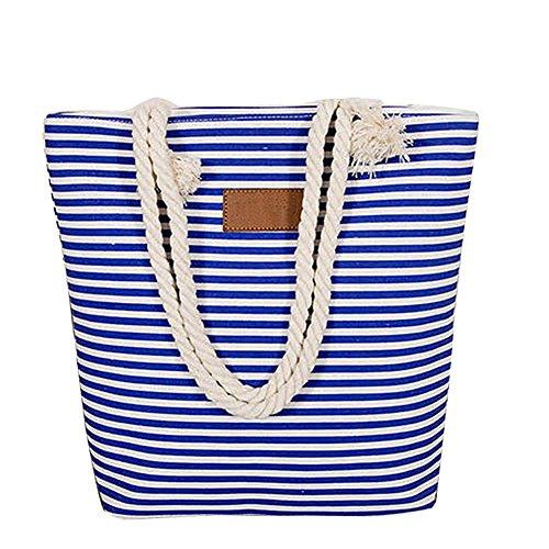 Segeltuchstreifen-Schulterbeutel Gross Handtaschen-Strandtasche beiläufiges Tasche mit großer Kapazität Blau