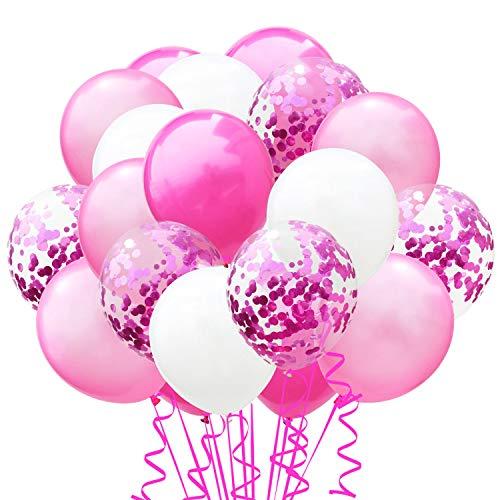 elium Party Ballon Hochzeit Deko Luftballons Geburtstag Kinder Latex Konfetti Ballons Dekoration, Rosa Hellrosa Weiß ()