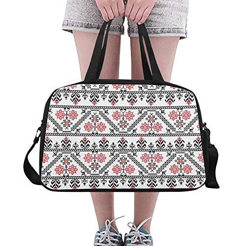 Plosds Gym Duffel Bag für Frauen Seamless Pattern Design Inspiriert von rumänischen Yoga Gym Totes Fitness Handtaschen Duffel Bags Schuhbeutel für Sportgepäck Womens Outdoor Tote-Handtaschen -