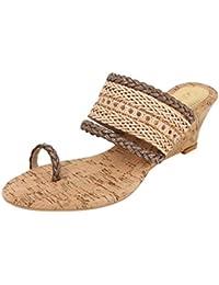Catwalk Beige Leather Slip-on Sandals for Women's