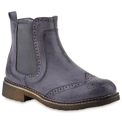 Stiefelparadies Damen Stiefeletten Chelsea Boots Leicht Gefütterte Booties Leder-Optik Schuhe Profilsohle Wingtip 145836 Blau Cabanas 37 Flandell