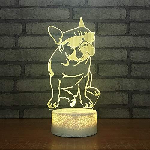 LED Nachtlicht 3D Lamp USB Power Sonnenbrille Hundekopf 7 Colors Amazing Optical Illusion Kids Bedroom Farben Touch-Schalter Ändern Baby Schlafzimmer Schlaf Lichter Night Light Spielzeug das Beste