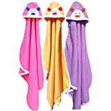 BRANDONN Newborn Original 3PCS. Big Size (36 X 27) Cute Baby Blankets for Babies (Hotpink, Peach, Purple; Pack of 3)